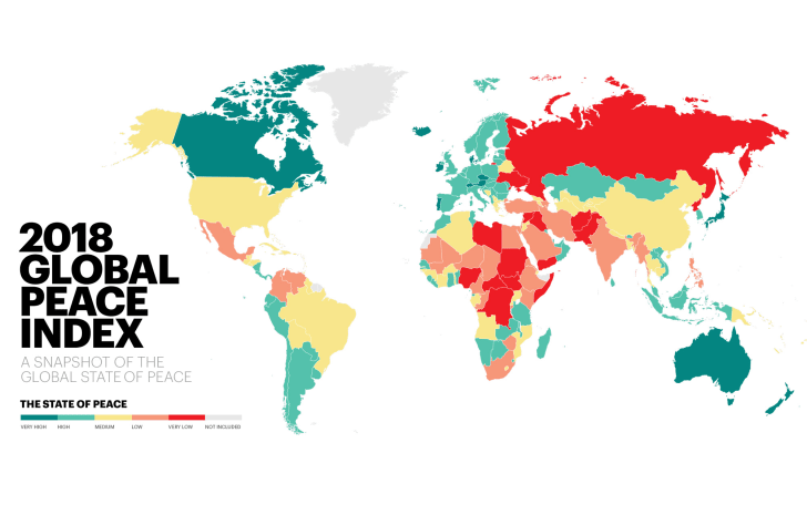 A color-coded map showing the state of peace in each country