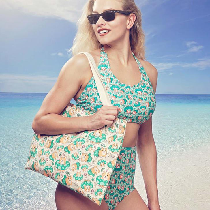 Corgi Beach Party Tote Bag