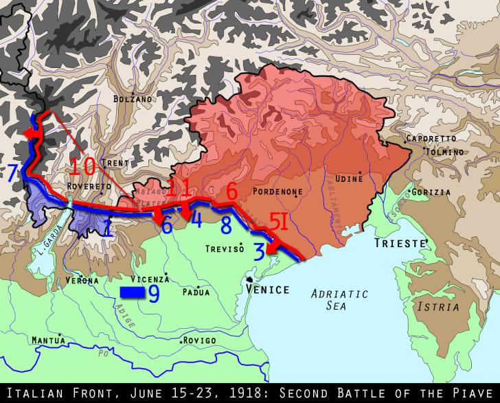Italian front, WWI, June 1918