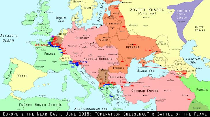 Map of Europe, June 1918