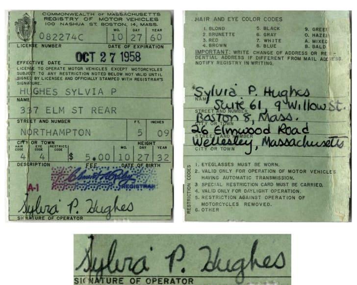 Plath's driver's license