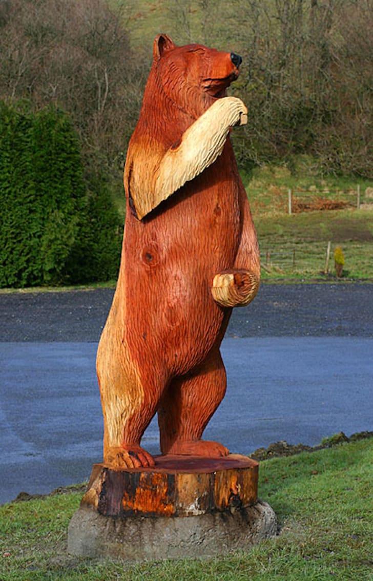 Wooden bear statue.