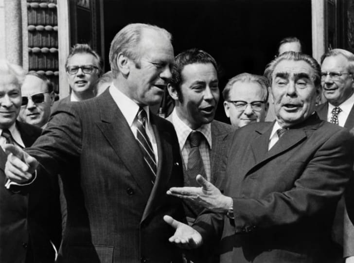 Gerald Ford makes a public appearance