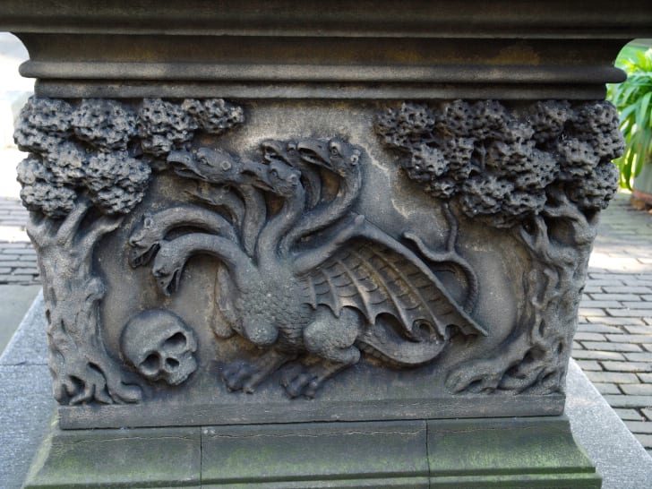 Detail of the Tradescant tomb St Mary-at-Lambeth, London