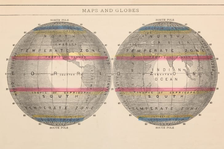 A vintage mapped globe showing the Tropic of Cancer