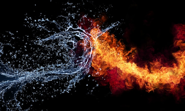 Arty image of fire and water colliding.