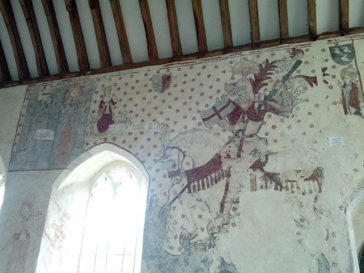 Mediaeval wall paintings, Llancarfan church, Wales