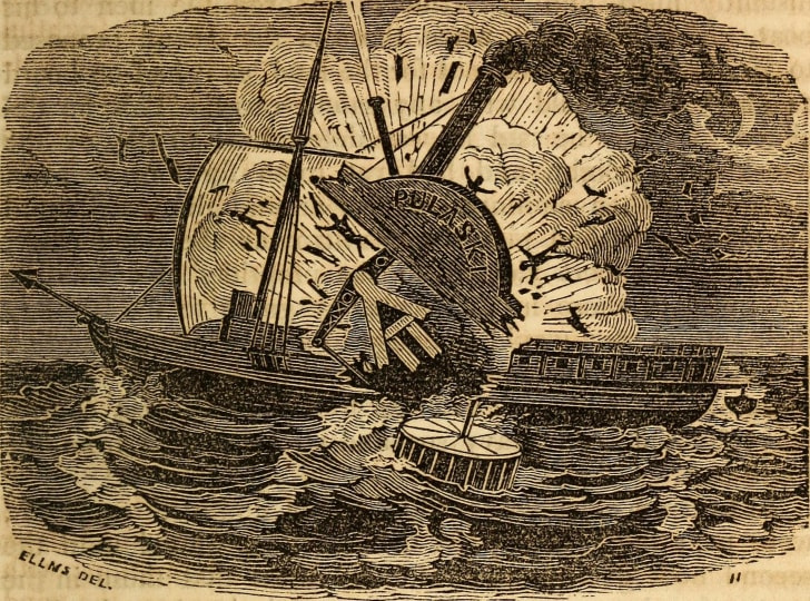 An engraving showing the 'Pulaski' exploding