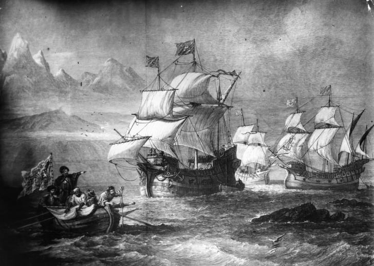 Ferdinand Magellan's fleet discovers the path to the Pacific
