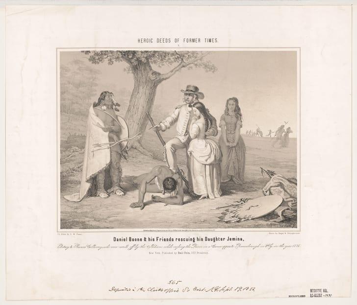 Daniel Boone rescuing his daughter Jemina