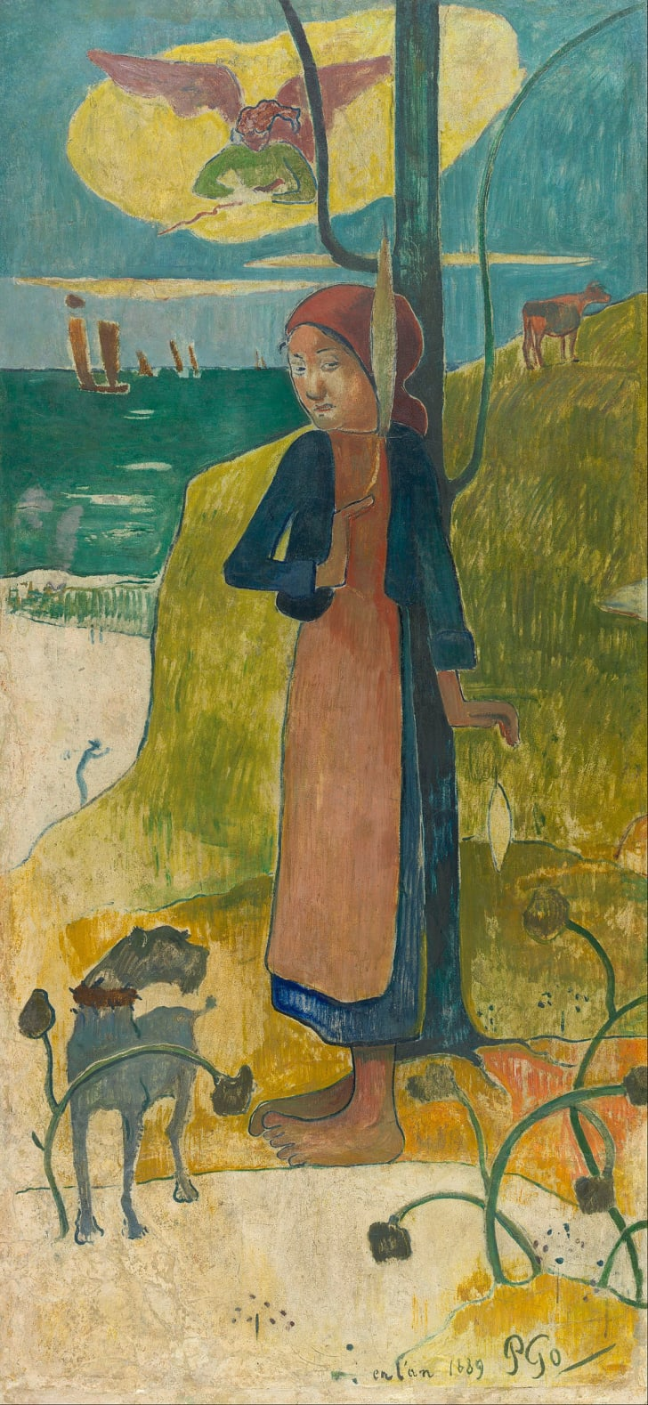 "Paul Gauguin, ""Breton Girl Spinning"""