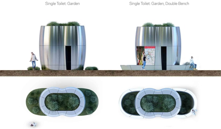 Renderings of the silver pod bathrooms from the side and the top