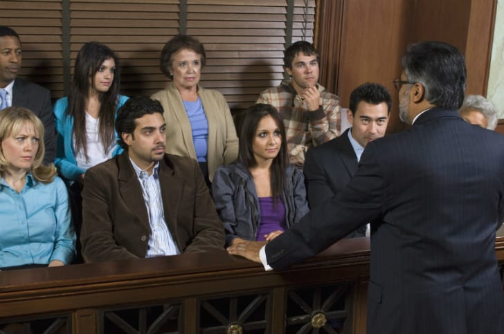 A criminal defense attorney addresses a jury