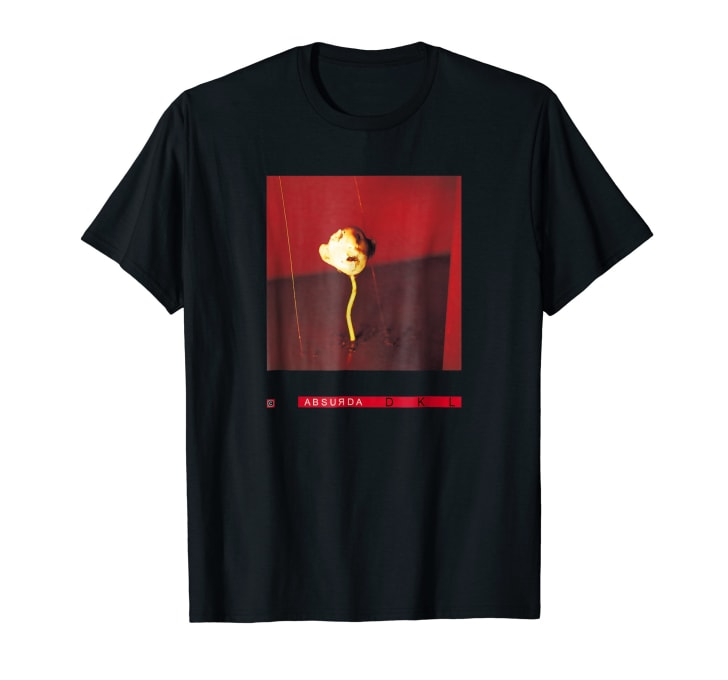 T-shirt with an image of a screaming face made out of turkey with ants in its mouth