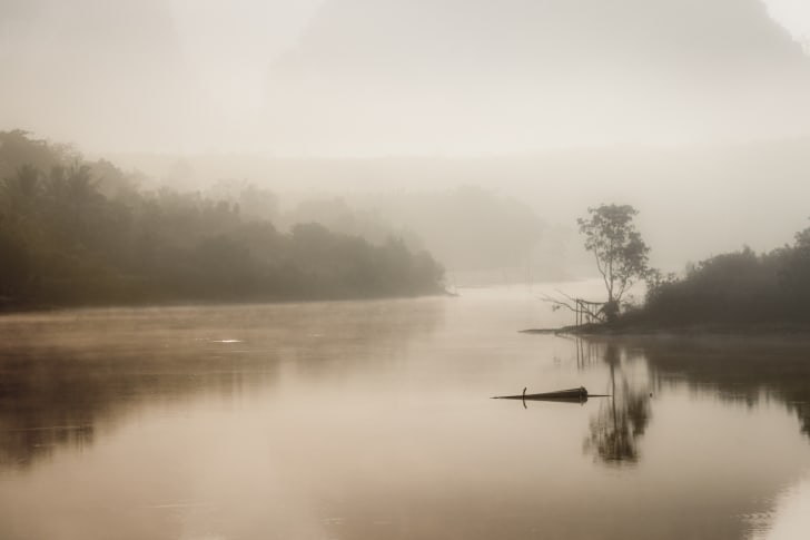 Mist and fog over a river