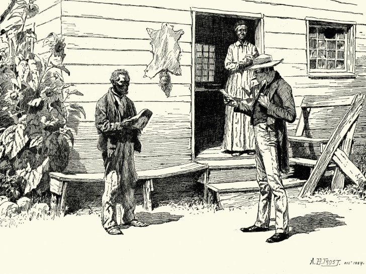 Illustration of a white man reading something to a black slave.