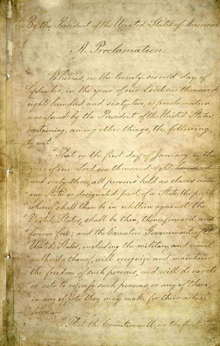 A page of the original Emancipation Proclamation on display from the National Archives.