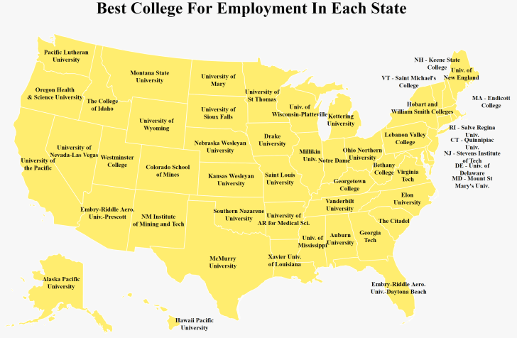 A yellow map of the U.S. labeled with the college that boasts the highest job placement rate in each state