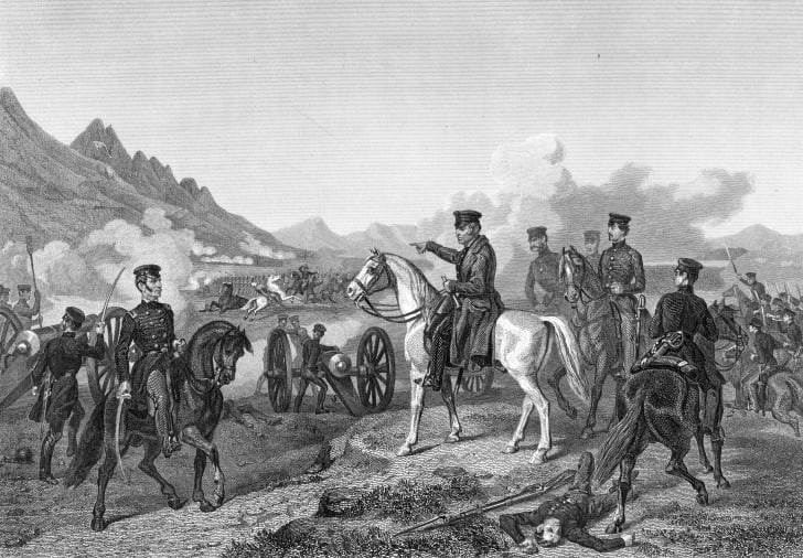 Zachary Taylor directing his troops at the Battle of Buena Vista in Northern Mexico during the Mexican-American war.