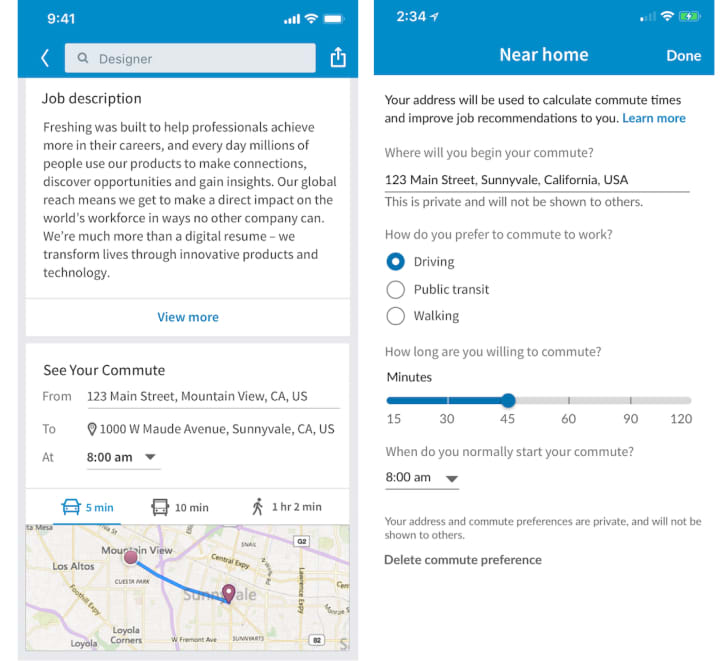 Screenshots of LinkedIn's mobile commute-search function