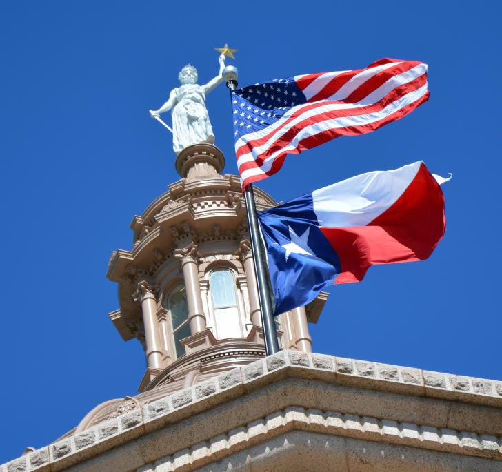 American flag and Texas flag