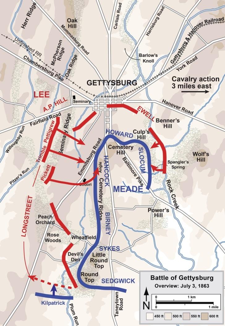 Gettysburg Battle Map Day 3