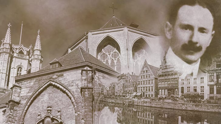 A photograph of Arsène Goedertier with images of Saint Bavo's Cathedral and Ghent, Belgium