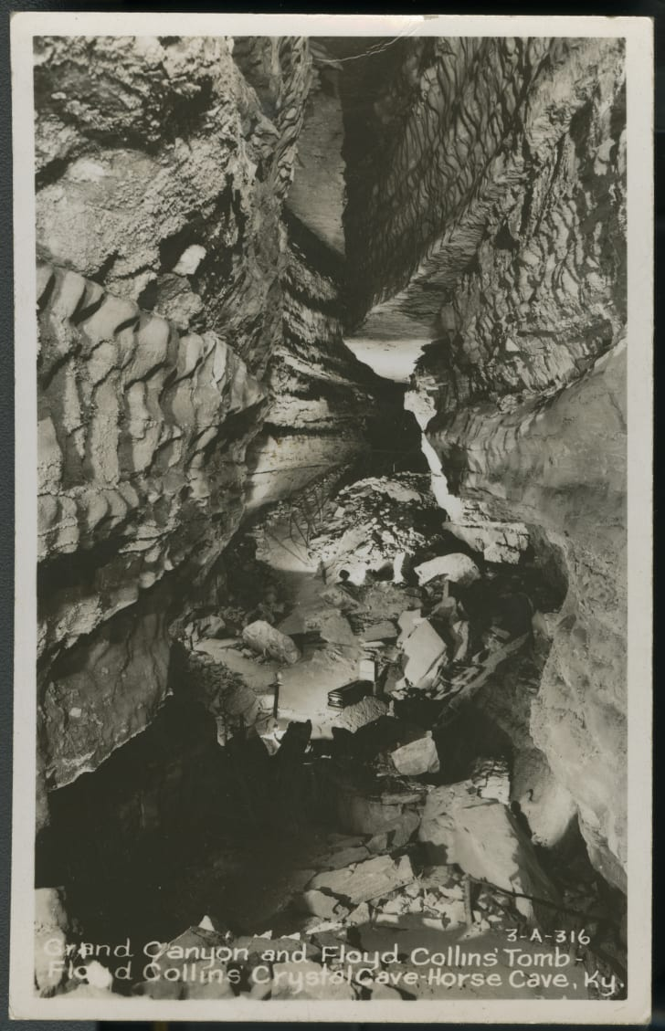 The coffin of Floyd Collins rests in the Grand Canyon of Crystal Cave.