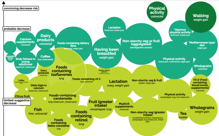 A bubble chart that shows factors that decrease cancer risk in shades of green