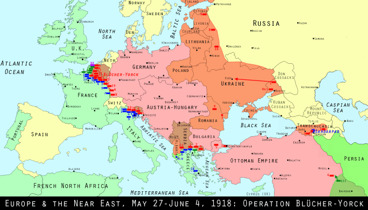 Europe, May 1918 map
