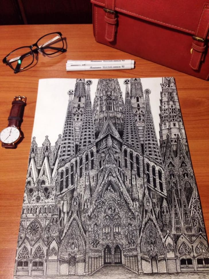 A cathedral drawing