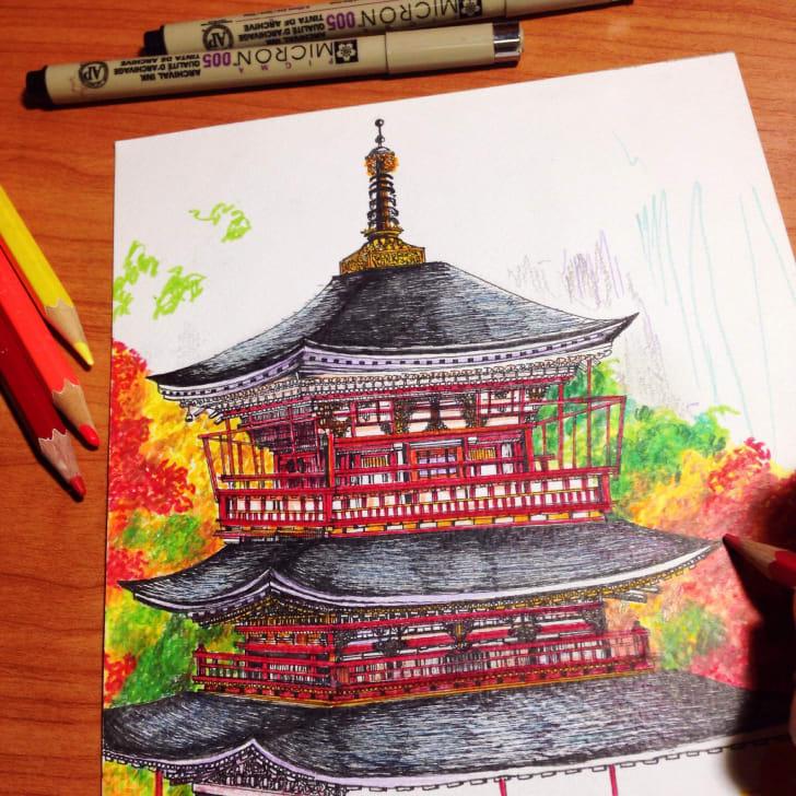 A pagoda drawing
