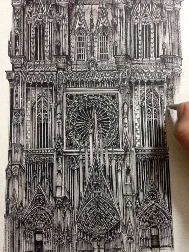 Drawing of a cathedral