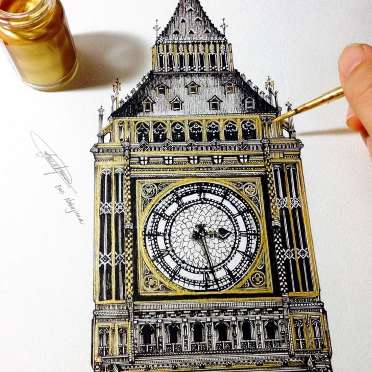 A drawing of Big Ben