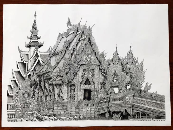 The completed temple drawing