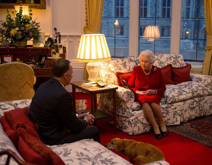 Queen Elizabeth II speaks with Prime Minister of New Zealand John Key at a audience held at Windsor Castle on October 29, 2015 in Windsor, England