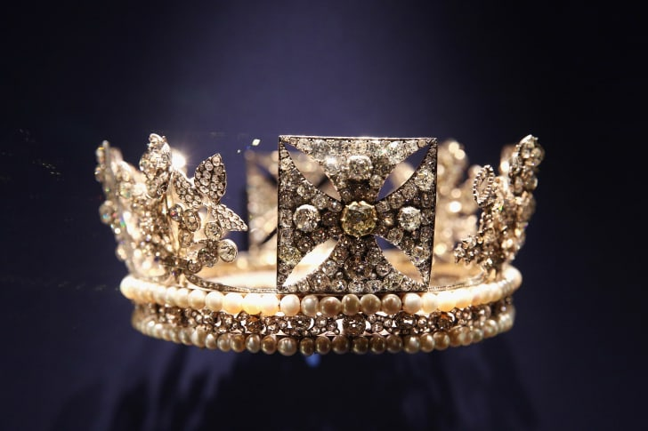 The Diamond Diadem is displayed in an exhibition in Buckingham Palace celebrating the 60th anniversary of Her Majesty The Queens Coronation on July 25, 2013 in London, England