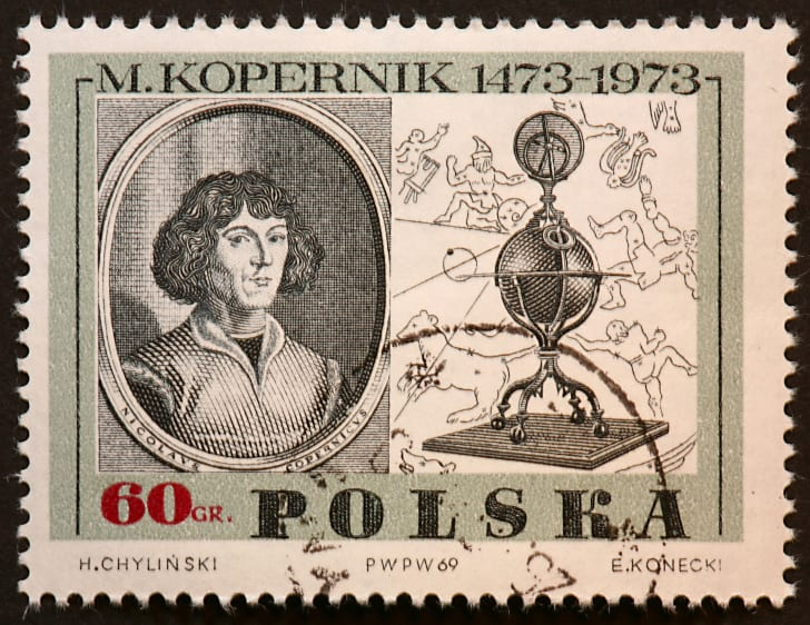 A Polish stamp of Nicolaus Copernicus.