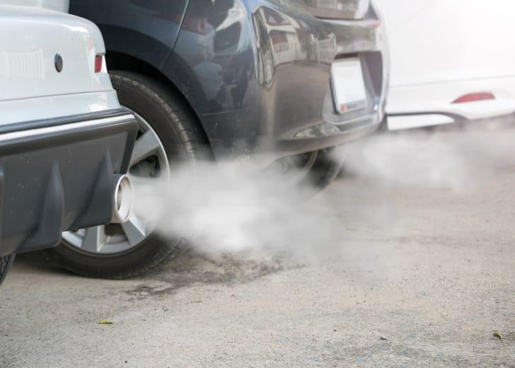 Car exhaust emitting smoke.