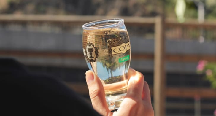 A Copa di Vino wine glass is held up