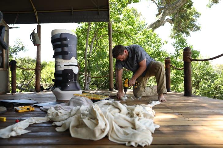 Derrick Campana builds a custom leg brace for Jabu the elephant.