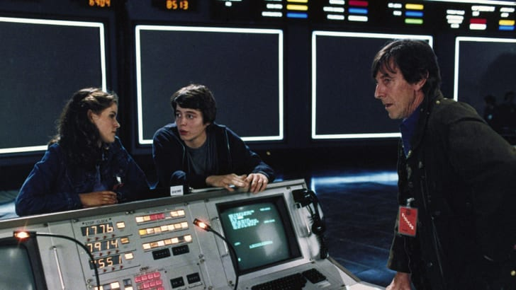 Matthew Broderick, Ally Sheedy, and John Wood in WarGames (1983)