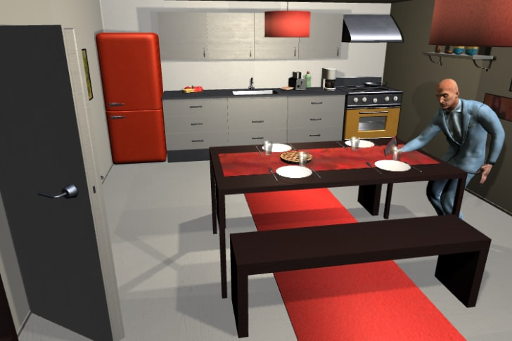 An avatar sets the table in a simulated dining room.
