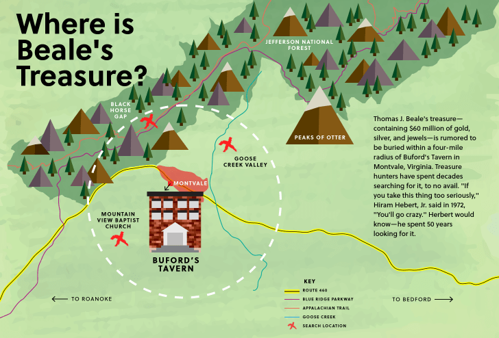 A map of some of the possibilities of the location of Beale's treasure.