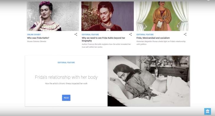 A screenshot of Google's digital archive of Frida Kahlo artworks