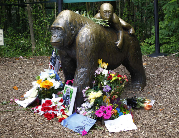 A bronze statue of a gorilla and her baby