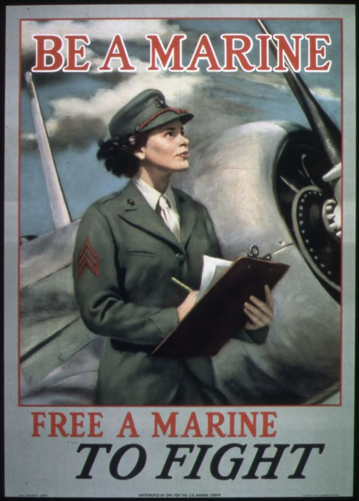 Poster for Women's Reserves of the U.S. Marines.