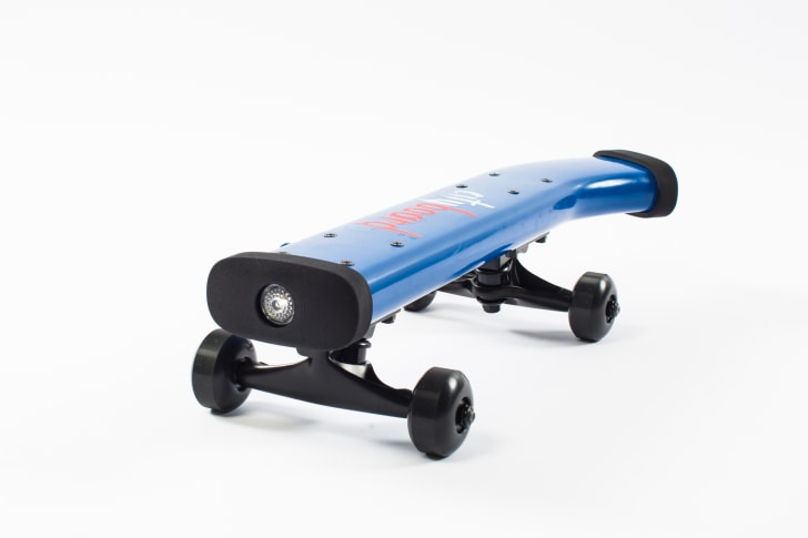 A recycled piece of a Citi Bike on wheels