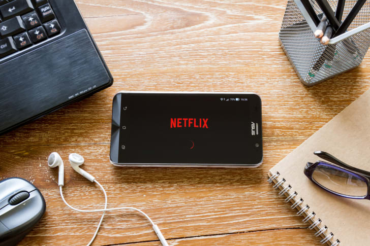 Watching Netflix on a smartphone