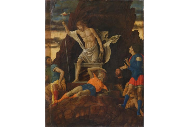 A painting depicting Jesus rising from the dead while soldiers look on